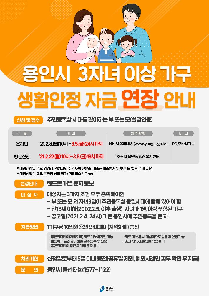 용인시, '다자녀 재난지원금' 접수 3월 5일까지 연장