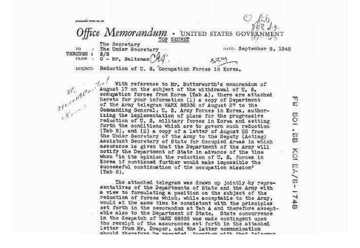 살츠만 당시 점령지역 담당 국무차관보가 미 국무부장관에게 보낸 문건에도 '점령군'이라고 지칭했다. 국사편찬위원회 제공