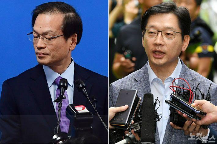 허익범 특검(왼쪽), 김경수 경남도지사.