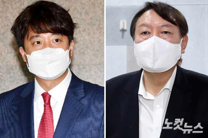 국민의힘 이준석 대표와 윤석열 전 검찰총장. 윤창원·이한형 기자