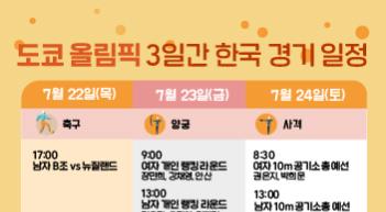 이번주 도쿄올림픽, 3일간 한국 경기 일정은?(22~24일)[그래픽뉴스]