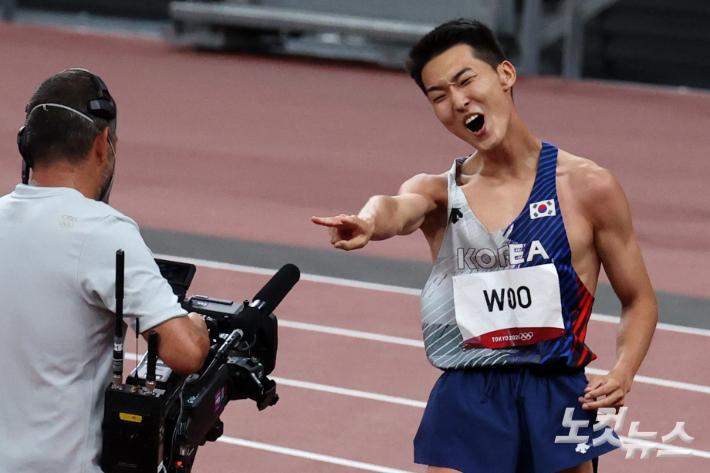 높이뛰기 결선에서 유일하게 경기 즐겼던 1人 '우상혁'[도쿄올림픽]