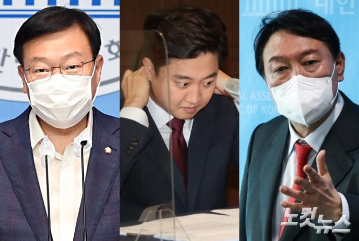 왼쪽부터 국민의힘 정점식 의원, 이준석 대표, 윤석열 전 검찰총장. 윤창원 기자