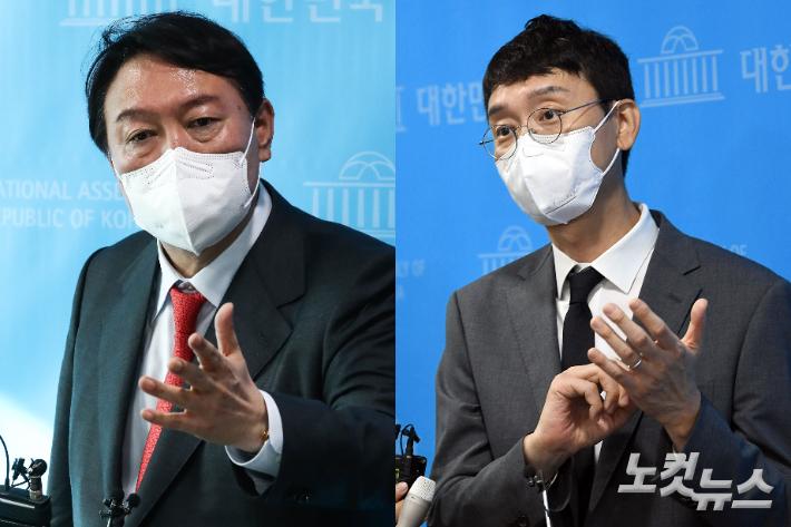 윤석열 전 검찰총장과 김웅 의원. 윤창원 기자