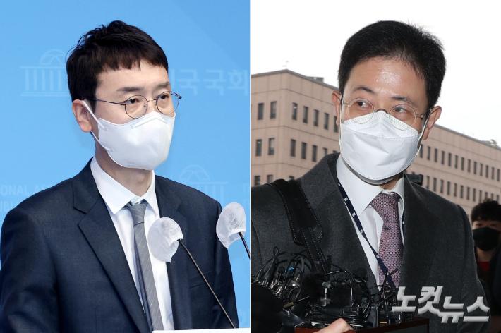 국민의힘 김웅 의원과 손준성 검사. 윤창원·이한형 기자