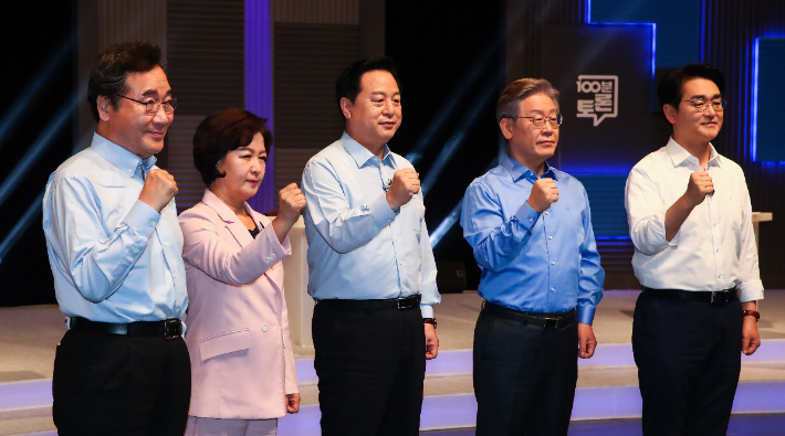 더불어민주당 이낙연(왼쪽부터), 추미애, 김두관, 이재명, 박용진 대선 경선 후보. 연합뉴스