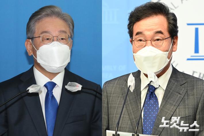 왼쪽부터 이재명 지사와 이낙연 전 대표. 윤창원 기자