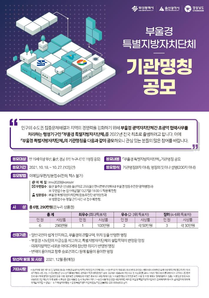 800만 뭉칠 전국 첫 '부울경 특별자치단체' 명칭 공모